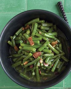 The bacon gives a nice bite to this side dish of green beans.