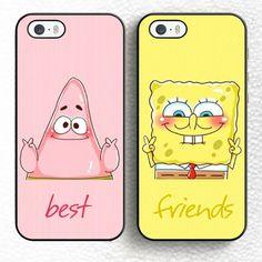 Set of 2 spongebob patrick BFF best friend Soft TPU Skin Phone Cases For iPhone 6 6S Plus 7 7 Plus 5 5S 5C SE 4 4S Back Cover