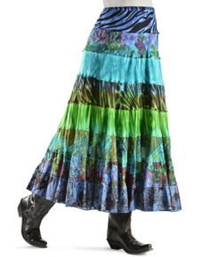 Floral & Animal Print Tiered Long Skirt