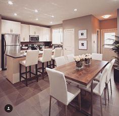 96 Best Open Concept Kitchen-living Room Design 2019 - Home Design Ideas Dining Room Design, Contemporary Kitchen, Kitchen Remodel, Kitchen Design, Living Room Kitchen, Classic Kitchens, Kitchen Flooring, Kitchen Room, Kitchen Layout