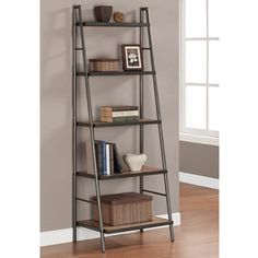 Weathered Gray Metal Ladder Bookshelf Reclaimed Oak Wood Display Stand Bookcase for sale online Leaning Ladder Shelf, Ladder Bookshelf, Bookshelf Design, Simple Bookshelf, My Living Room, Living Room Furniture, Living Area, Bookcase Plans, Home Decor Ideas