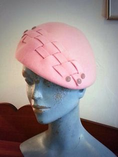 Felt beret / cap with lattice trim and buttons. #millinery #judithm #hats