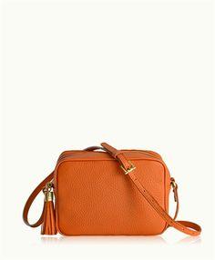 Orange Madison Crossbody | Pebble Grain Leather | GiGi New York