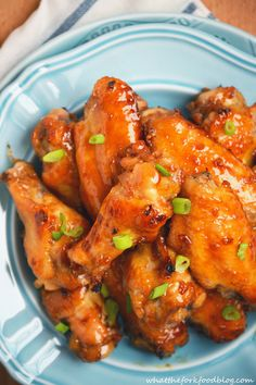 Sticky Asian Garlic Wings - WAY better than buffalo wings! From What The Fork Food Blog Use #glutenfree soy sauce to make them gluten-free.