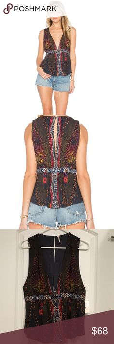 """🎉SALE!!! 🎉 FREE PEOPLE """"The Siren"""" top Such a unique top! Multicolored, soft material. Please make me a reasonable offer! No trades! Free People Tops"""