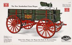 General line catalog color illustration of a Cumberland Mountain Farm Wagon, part of the Weber Cumberland Mountain line of farm wagons and trucks. Best Wagons, Old Wagons, Horse Wagon, Horse Drawn Wagon, Old West Town, Wooden Wagon, Horse And Buggy, Covered Wagon, Chuck Wagon