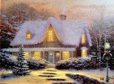 Thomas Kinkade Art Oil Painting   Christmas Eve-in