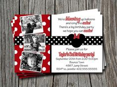 Custom Minnie Mickey Mouse  Red Black White by ATimeAndPlaceDesign I used this for my little girls second birthday and it was so fast. Less than 12 hours and I had invites!
