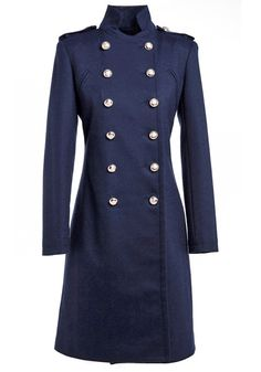 Navy Blue Double Breasted Band Collar Wool Coat