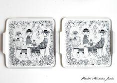 Arabia Emilia, malli AJ61:n tarjotin kuuluu sarjan näyttävimpiin osiin. Cup And Saucer, Kitchenware, Kitchen Dining, Scandinavian, Nostalgia, Art Deco, Phone Cases, Ceramics, Vintage