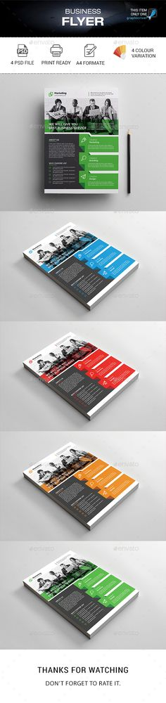 Buy Corporate Flyer by madmindgraphics on GraphicRiver. Features : Psd Files 4 Color variation Easy Customizable and Editable Print Size Format with Bleed 300 Dpi Pri. Psd Flyer Templates, Business Flyer Templates, Print Templates, Green Marketing, Building Logo, Flyer Layout, Graphic Design Print, Corporate Flyer, Advertising Agency
