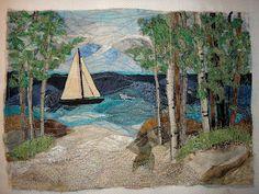 heathers3stars: Sailboat on Lake Michigan - A Fiber Art Quilt Collaboration