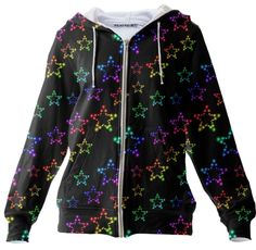 Rainbow Stars Glitter Pattern Zip Up Hoodie