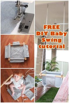 FREE DIY Baby Swing pattern and tutorial. Here's a fantastic plaything to make for your little angel. It's sure to bring a smile and a laugh to your little ones face. Baby Sewing Projects, Sewing Patterns For Kids, Sewing Tutorials, Sewing For Kids, Free Sewing, Baby Hammock, Baby Swings, Accessoires Barbie, Diy Bebe