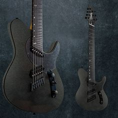 The Gunmetal TX GTR multiscale. Laminated rock maple neck, mahogany body, luminlays, jumbo stainless steel frets, Ormsby pickups, and custom hardware from Hipshot Products