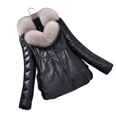32b2b82bba6c Leather Down Jackets Women Short Sheepskin Coat Winter New Fox Fur Collar  Parkas 2018 Female Fluffy
