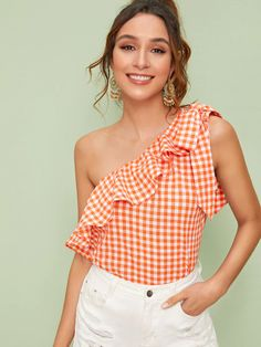 Shein Knot One Shoulder Ruffle Trim Gingham Top Ruffle Fabric, Ruffle Trim, Crop Blouse, Ruffle Blouse, Dress Out, Gingham Dress, Boho Tops, Blouse Styles, Fashion News