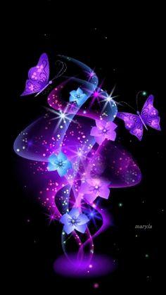Purple and Blue fractal flowers & Butterflies Cute Galaxy Wallpaper, Purple Wallpaper, Butterfly Wallpaper, Nature Wallpaper, Wallpaper Backgrounds, Purple Love, All Things Purple, Purple Stuff, Purple Butterfly