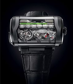 The third iteration of HYT's eye-catching hydro-mechanical watch marks a significant development of the hybrid movement, switching from a circular to a linear portrayal of time. We got a chance to see the unusual new timepiece at Baselworld Fine Watches, Cool Watches, Watches For Men, Men's Watches, Unusual Watches, Latest Watches, Pocket Watches, Wrist Watches, Aftershave