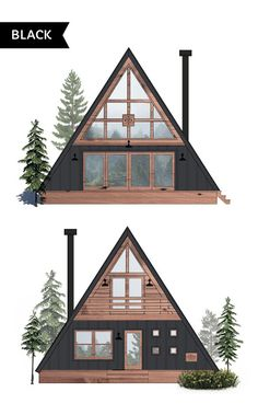 Ayfraym - A-Frame House or Cabin Plans & Kits A Frame Cabin Plans, Cabin House Plans, Small Cabin Plans, Build A Frame, Cabin Design, Tiny House Design, Diy Design, Cabins In The Woods, House In The Woods