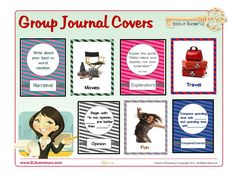 "WHOLE CLASS JOURNALS allow students to write their own stories, essays and opinion pieces then share entries with guests or classmates. It's a super-easy way to have students ""publish"" their work. This resource contains twenty journal page covers (10 multi-genre covers and 10 free write covers) ready to print and glue on the front of marble-stitched or spiral notebooks. (priced item)"