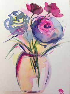 Aquarell Blumen Aquarellpostkarte  von GallerieSilberschatz auf Etsy