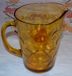 Vintage Amber Glass Pitcher