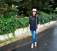Getting ready for fall step by step with a sweater tunic, neutral hat, skinny jeans, and booties. Perfect for a rainy, slightly chilly day. Weekend wear. Casual