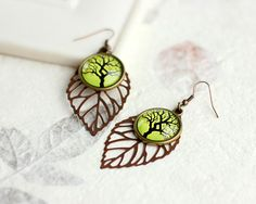 Tree Earrings, Green Earrings, Leaf Earrings, Floral Earrings, FREE shipping. $22.00, via Etsy.
