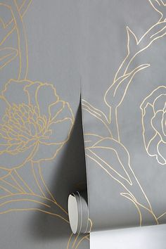 Peonies Noir Wallpaper by Anthropologie in Grey, Wall Decor Grey And Gold Wallpaper, Gold Wallpaper Living Room, Bedroom Wallpaper Accent Wall, Metallic Wallpaper, Flower Wallpaper, White And Gold Decor, Gold Accent Decor, Black Decor, Black White Gold