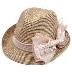 7f469e9248b Lace Bowknot Band Straw Fedora Hat (850 RSD) ❤ liked on Polyvore featuring  accessories