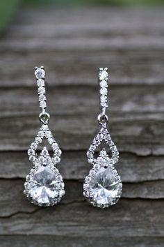 Art Deco CZ Bridal Earrings  , Drop Earrings, Wedding Earrings, Cubic Zircon ,Vintage Jewelry ,Bridal , Jewelry ,Pearl drop by simplychic93 on Etsy
