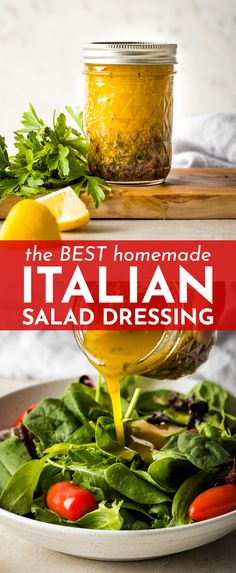 Seriously the best homemade Italian salad dressing! A tiny drizzle of honey and freshly-grated Parmesan set this apart. And you won't believe how easy it is! dressing The Best Homemade Italian Salad Dressing Italian Dressing Recipes, Homemade Italian Dressing, Salad Dressing Recipes, Dressing For Salad, Salad Dressing Homemade, Homemade Salad Dressings, Italian Salad Recipes, Vinaigrette Salad Dressing, Sauce Barbecue