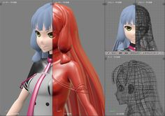 3d anime girl render shaders and topology face hair