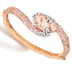 Panachè Collection - Bracelet in 18K white and rose gold with white and brown diamonds, morganite and multicolored sapphires.