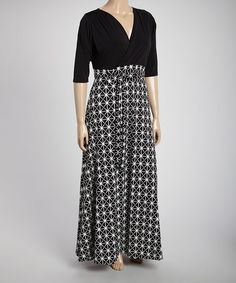 Another great find on #zulily! Black & White Geometric Maxi Dress - Plus #zulilyfinds