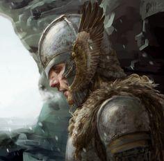 Bragi, Norse god of wisdom and poetry (Eagle Knight) Fantasy Male, High Fantasy, Fantasy Warrior, Fantasy Rpg, Medieval Fantasy, Fantasy Inspiration, Character Inspiration, Character Art, Fantasy Portraits