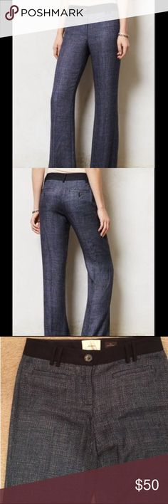 "Anthropologie Elevenses Brighton Trouser Blue metallic tweed Brighton Trouser by Elevenses from Anthropologie. Size 4, 15.5"" waist, 30"" inseam. Worn twice. Classy! Anthropologie Pants Trousers"