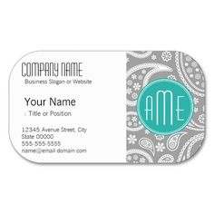 Chic Floral Gray Paisley Pattern & Blue Monogram Business Card Templates