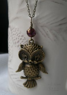 Necklace - Charming owl- Antique bronze owl necklace- Filigree necklace- Sale- Adorable owl