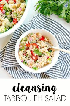 Cleansing Tabbouleh Salad - made gluten free and vegan with low-fat cleansing nutrients and ready in 30 minutes. Super easy, oil-free, healthy and vibrantly flavored! From The Glowing Fridge Easy Mediterranean Diet Recipes, Mediterranean Dishes, Med Diet, Vegetarian Recipes, Healthy Recipes, Tofu Recipes, Healthy Options, Clean Eating, Healthy Eating
