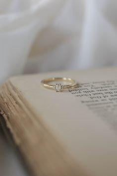 Lark   Dainty Three Stone   #yellowgold #baguette #simple Baguette Diamond Rings, Diamond Bands, Princess Cut Engagement Rings, Diamond Engagement Rings, Natural Diamonds, Round Diamonds, Olive Avenue Jewelry, Jewelry Companies, Wedding Sets
