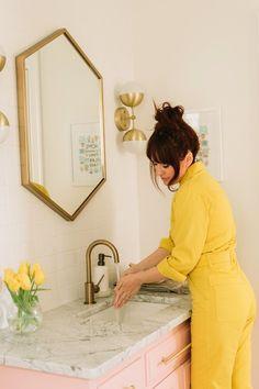 navy Bathroom Decor Elsie Larsons Bold And Colorful Nashville Home Navy Bathroom Decor, Quirky Bathroom, Simple Bathroom, Bathroom Styling, Master Bathroom, Bathroom Ideas, Mosaic Bathroom, White Bathroom, Boho Chic