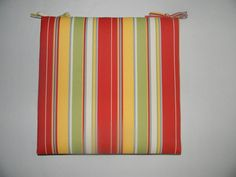 Indoor / Outdoor Foam Universal Chair Seat Cushion with Ties Pool Furniture, Chaise Lounges, Red Green Yellow, Chair Cushions, Blue Stripes, Indoor Outdoor, Porch, Ties, Chaise Lounge Chairs