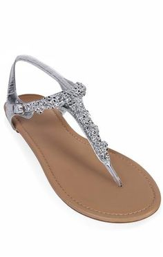 Deb Shops #silver flat #sandal with clustered stones