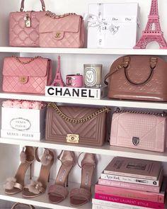 Such a pretty wardrobe 💗💗💗 chanel bag, gucci bag, hermes bag Chanel Handbags, Purses And Handbags, Louis Vuitton Handbags, Vuitton Bag, Cheap Handbags, Suede Handbags, Chanel Tote, Chanel Chanel, Pink Handbags