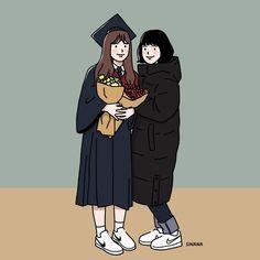 친구 eternal friends at graduation ceremony :) Cute Couple Drawings, Cute Couple Art, Cute Drawings, Girl Cartoon, Cartoon Art, Cute Cartoon, Couple Illustration, Illustration Art, Illustrations