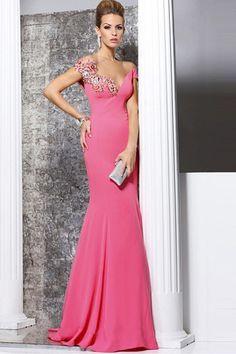 Mermaid Watermelon V-neck Cap Sleeves Chiffon Prom Dresses - by OKDress UK