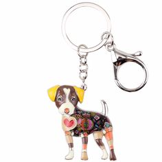 Bonsny Enamel Jack Russell Dog Key Chain Key Ring Pom Gift For Women Girl Bag Pendant 2017 Charm Keychain Fashion Animal Jewelry. Cute Keychain, Tassel Keychain, Leather Keychain, Charm Jewelry, Jewelry Art, Fashion Jewelry, Jack Russell Dogs, Key Chain Rings, Friendship Gifts
