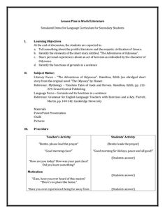 Lesson Plan in World Literature Simulated Demo for Language Curriculum for Secondary StudentsI. Learning Objectives At the end o… Grade 1 Lesson Plan, Science Lesson Plans, Teacher Lesson Plans, Science Lessons, English Lesson Plans, English Lessons, Lesson Plan In Filipino, Lesson Plan Examples, Maths Paper